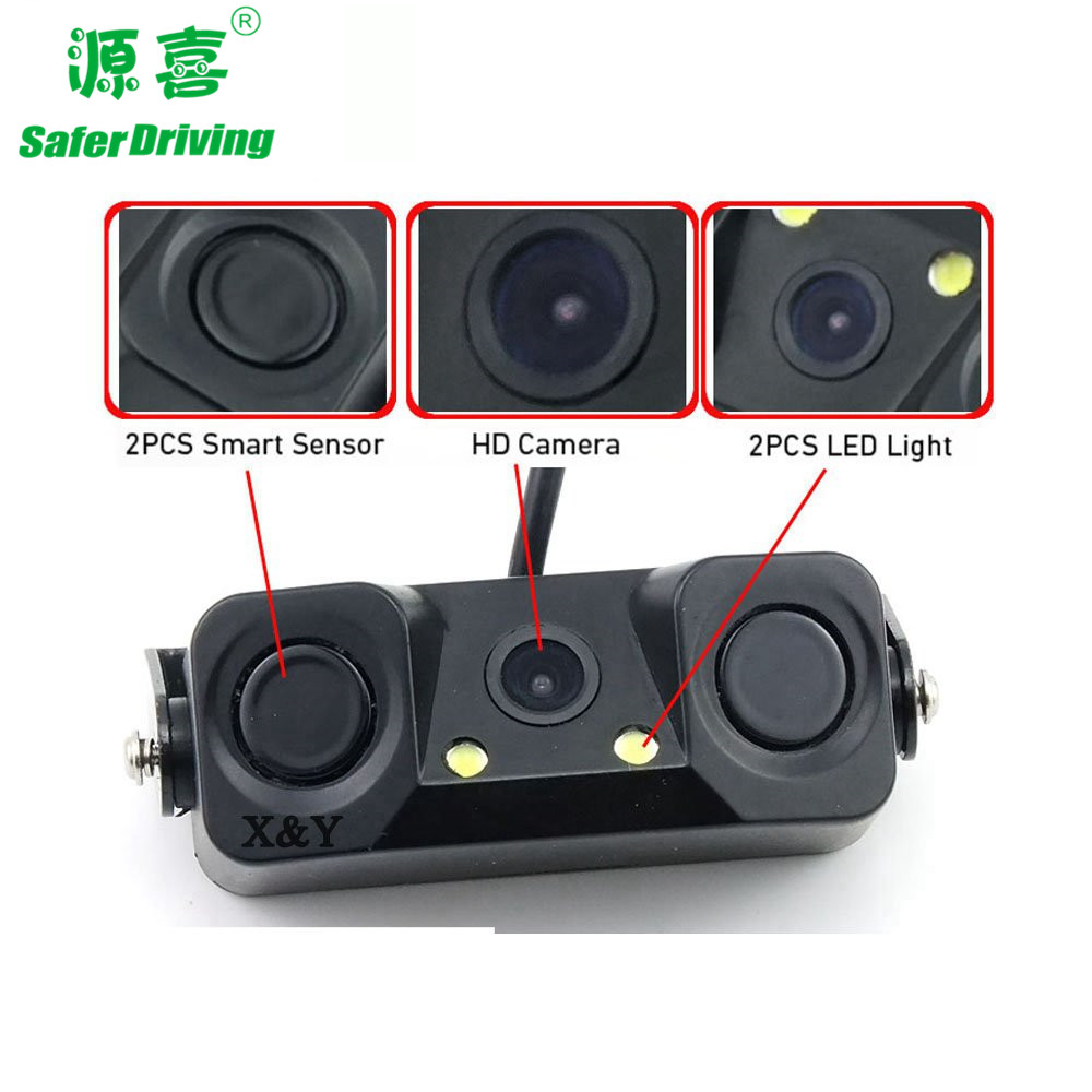 car rear view camera with two parking sensors XY-9818D
